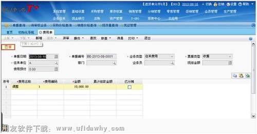 在T+软件中填写费用单图示