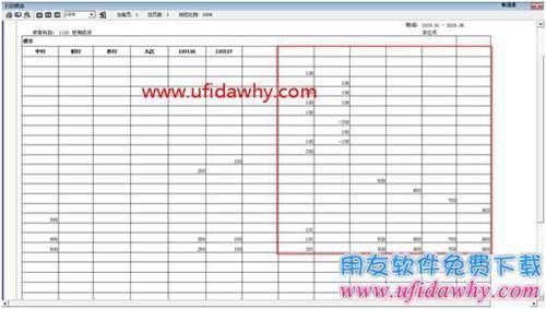 多栏账辅表打印预览时后面空白栏目多出了一些数字?